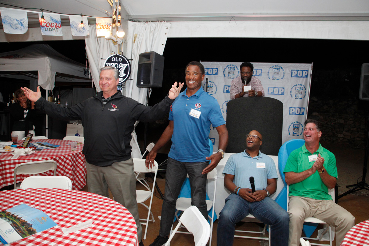 NFL Ron Wolfley, NFL HOF Mike Haynes, Larry Centers, Bubby Brister, Comedian Billy Williams (on stage)
